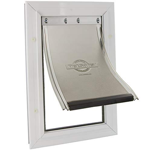 PetSafe Staywell - Puerta con Marco de Aluminio para Gatos Grandes y Perros Medianos - Sistema de Bloqueo, Resistente, Aislante y Fácil de Instalar, No Apta para Vidrio - M