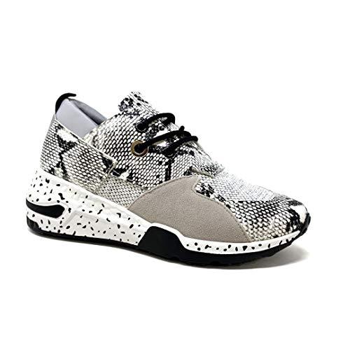 Angkorly - Damen Schuhe Sneaker Sneaker Keilabsatz - Tennis - Streetwear - Sportwear - Tierdruck Animal-Print - Leopard - Pythonschlangenhauteffekt Flache Ferse 5.5 cm - Grau 3S-3 T 38