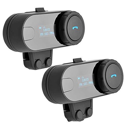 Intercomunicador Casco Moto, Pantalla LED Bluetooth 3.0 Manos Libres Radio FM Impermeabilidad Gama Comunicación Intercom de 800m Auriculares Bluetooth para Motocicleta 2PCS