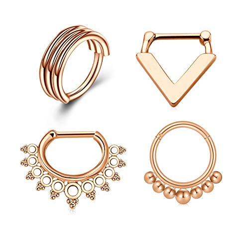 Briana Williams Septum Rings 16G Stainless Steel Septum Clicker Cartilage Helix Daith Hoop Nose Ring Hinged Septum Piercing Jewelry