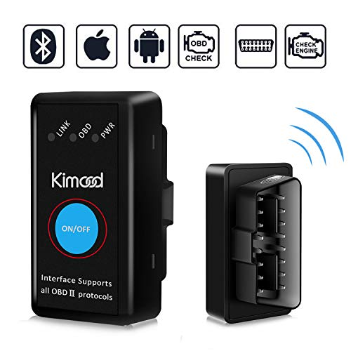 OBD2 Bluetooth 4.0, Kimood Nuova Versione Diagnosi per Auto, Mini Adattatore Wireless Codice Errore di Scansione per Veicolo - Connessione via Bluetooth a Dispositivi IOS, Android e Windows