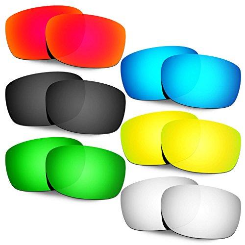 HKUCO Mens Replacement Lenses For Oakley Straightlink Red/Blue/Black/24K Gold/Titanium/Emerald Green Sunglasses