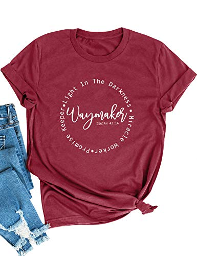 WLLW Christian Shirts for Women Waymaker Miracle Worker Shirt Sweatshirt Graphic Tees Tops