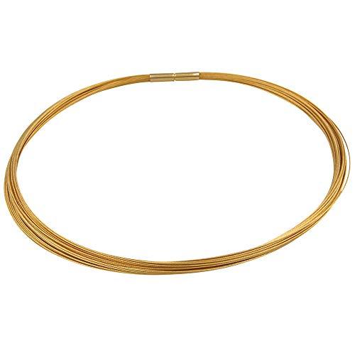 Collier - Goldschmiedearbeit made in Germany - (Edelstahl hochwertig vergoldet) Collier aus 30 Litzen - Edelstahl Kette aus 30 Drähten - mehrreihige Halskette Halsreifen Damenkette