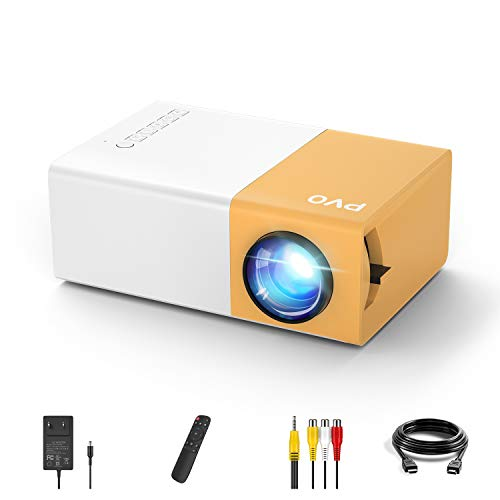 Mini Projector, PVO Portable Projector Pico Full Color LED Video Projector for Cartoon, Movie, Kids Gift, TV Movie Projector, Outdoor Entertainment with HDMI USB TF AV Interfaces and Remote Control