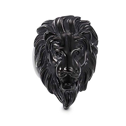 AMY-XCQ Ring, Stainless Steel Titanium Steel Lion Head Men's Jewelry Birthday Holiday Accessories,D,10