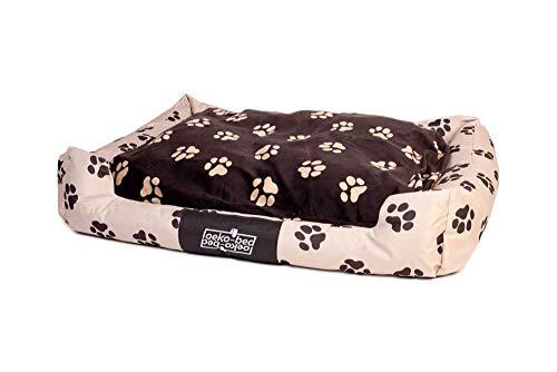 Pakmas Hundebett Oeko-Bed mit Wendeoptik in Plüsch Pfoten braun 120 x 95 x 28cm