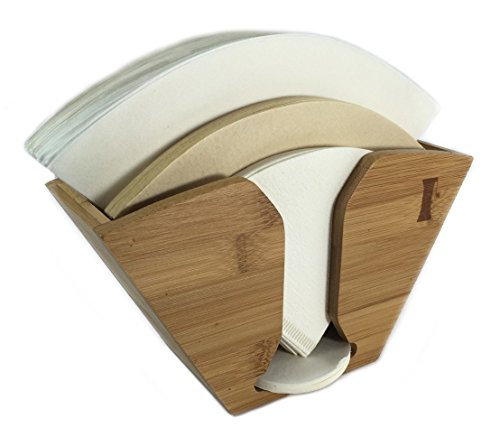 Bamboo Coffee Filter Holder compatible with Aeropress, Chemex and Hario pour over coffee filters