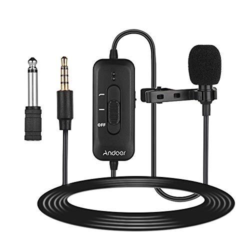 AD-M2 Micrófono de Solapa con Clip Omnidireccional Conector de 3,5 mm a 6,5 mm con Adaptador de Audio de 6,5 mm Longitud de Cable de 8m Sonido para Smartphone Cámara Grabación