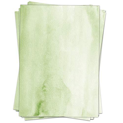 50 Blatt Briefpapier (A4)   Aquarell-Look grün   Motivpapier   edles Design Papier   beidseitig bedruckt   Bastelpapier   90 g/m²