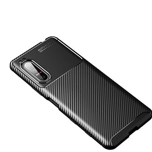 Cruzerlite Sony Xperia 5 II hülle, Carbon Fiber Texture Design Cover Anti-Scratch Shock Absorption Hülle Schutzhülle für Sony Xperia 5 II (2020) (Carbon Black)