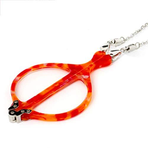 BBGSFDC Lectura Gafas Collar Colgante Estilo sin piernas Plegable Lupa Portátil Cuello Colgante Cuello Moda Moda Vidrios Presbiopic Purple- + 2.5 (Color : Red, Size : 1.5)