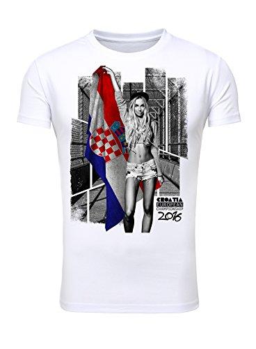 T-Shirt Herren Männer Fan Printshirt Fußball Europameisterschaft 2016 Girl Sexy Croatia Kroatien weiß XXL