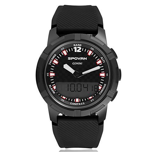 spovan Smart Watch, Sport-Bergsteigeruhr, 3D-Schrittzähler-Thermometer Höhenmesser-Barometer-Wettervorhersage-Höhenmesser-leuchtende wasserdichte Multifunktionsuhr,A