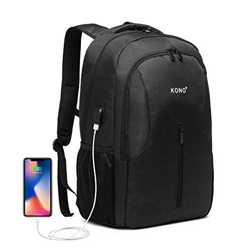 Kono Travel Laptop Backpack Anti Theft Business Computer Rucksack with USB Charging Port Water Resistant School Rucksack Gifts for Men and Women Fits 15 Inch Laptop (Black)