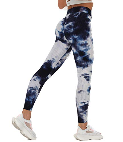 COMFREE Leggings Mujer Leggins Mallas Deportivos Push Up Leguins Pantalones Yoga Legins Deporte Fitness Pantalón Cintura Alta Control de Barriga Transpirables Azul&Blanco L