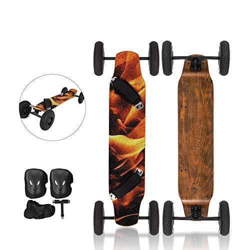 OldFe 39cm Skateboard Professioanle capacità 200KG Skateboard con 4 Ruote da 20cm per Cruising Free-Style Downhill E Dancing in Fiamma
