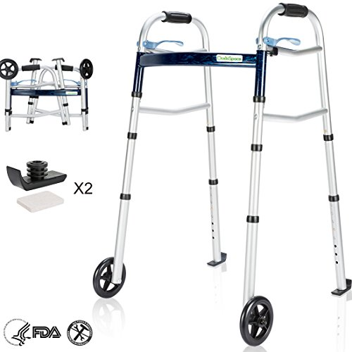 OasisSpace Compact Folding Walker, with Trigger Release and 5 Inches Wheels for The Seniors [Accessories Included] Narrow Lightweight Supports up to 350 lb
