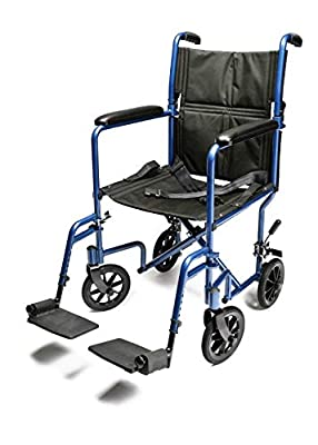 Everest & Jennings Aluminum Transport Wheelchair, Fixed Full Arms, Swingaway Footrests
