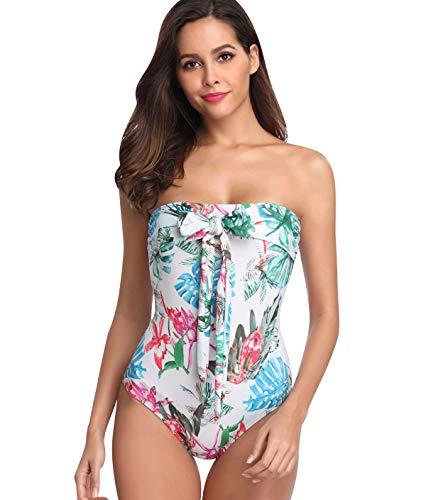 Traje de Baño Mujer Bañador Bandeau Vientre Plano Una Pieza Bañadores Playa Natacion Mujer Flores Bikinis con Relleno Monokini Bikini Push Up Señora Trajes de Baño Enteros Piscina Trikini Biquini