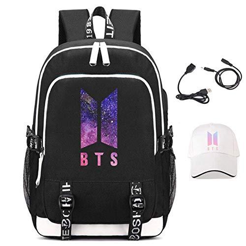 BTS Rucksack, Student Schultaschen Laptop Rucksack Reise Computer Tasche für Jungen Mädchen Kinder Teenager Bangtan Boys Fans Geschenk