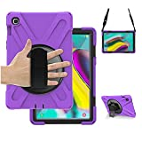 Samsung Galaxy Tab S5e case with 360 Degree Rotating Stand, Hand Strap&Shoulder Strap, SIBEITU Heavy Duty Shockproof Rugged Full Body Protective Case for Samsung Galaxy Tab S5E (SM-T720/T725) Purple
