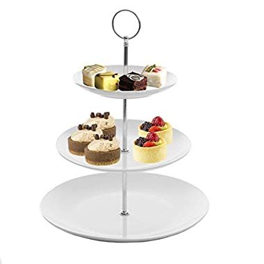 Gibson White Ceramic 3-Tier Server Stand With Graduated Size Plates Large Food Server Display Trays