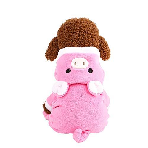 CWYPWDY Pet Kleidung Niedliche rosa Schwein Hund Kostüm Hund Samt Overalls Trainingsanzüge Winter warm Haustier Kleid Vier Beine Hündchen Kleidung