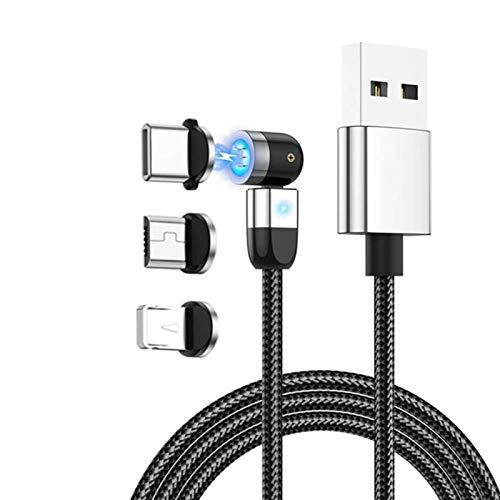 YSJJZRL Cable de carga magnética, rotación de 360 ° y 180 ° (3.3 pies/1 m) 3A carga rápida de datos cable magnético 3 en 1, compatible con Mirco USB, Smartphone Tipo C y dispositivo iProduct Plata