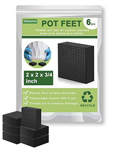 Pot Feet for Outdoor Planters - 6 Pack Large Pot Feet Elevate up 3/4 inch, Rubber Planter Feet for Pots, Enhances Drainage Plant Pot Feet
