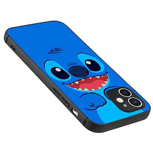 DISNEY COLLECTION Carcasa esmerilada para iPhone 12 Lilo Stitch 6 TPU mate + PC a prueba de golpes, color negro