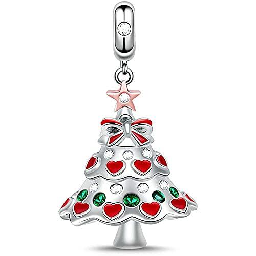 chaosong shop Colgante de árbol de Navidad de plata de ley 925 con colgante de feliz Navidad, ideal para pulseras, regalos de Navidad para mujeres y hombres