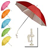 Panorama Gifts Portable Deck Chair Umbrella Lightweight Balcony Parasol + Clamp On Screw (Blue)