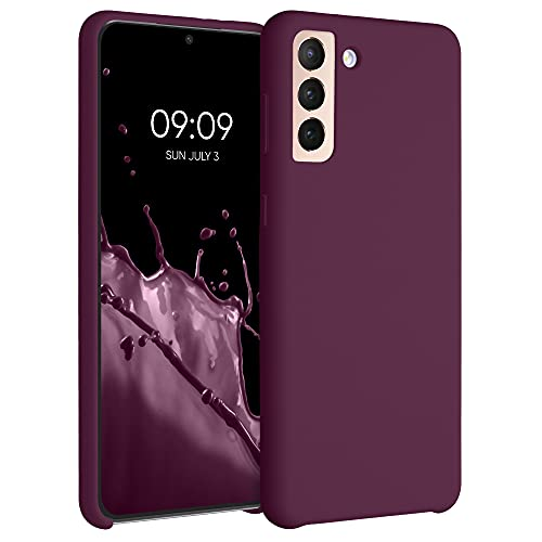 kwmobile Hülle kompatibel mit Samsung Galaxy S21 Plus - Hülle Silikon gummiert - Handyhülle - Handy Hülle in Bordeaux Violett