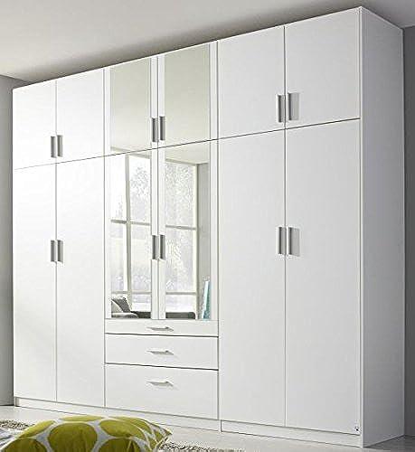 Kleiderschrank Weiß12 Türen B 271 cm Kinderzimmer Jugendzimmer Schlafzimmer Drehtürenschrank Spiegeltüren W heschrank Schrank