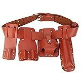 Bolsa para herramientas de mantenimiento eléctrico, bolsa para colgar en la cintura con 4 portaherramientas móviles, bolsa para cinturón de cuero para herramientas 5 en 1