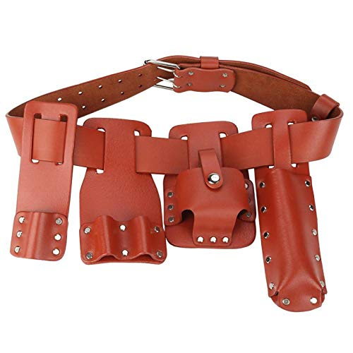 Borsa per attrezzi, 5in1 Strumento per ponteggi in pelle con cintura per attrezzi e portautensili per chiavi di livello Martello