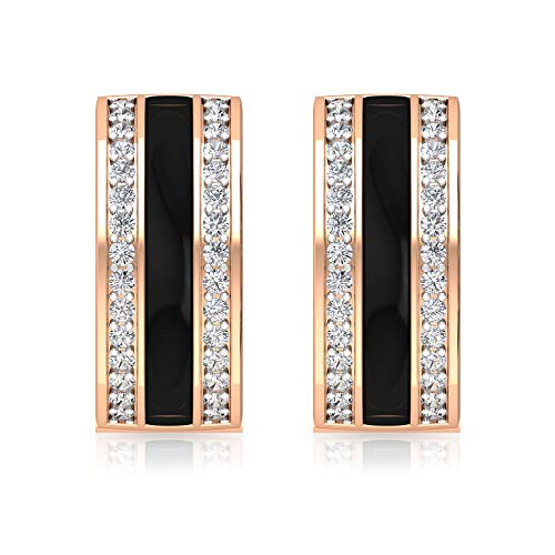 Pendientes de aro con diamantes certificados IGI de 0,3 quilates, color negro esmaltado, para mujer, IJ-SI, claridad de color, para fiestas, con clip.