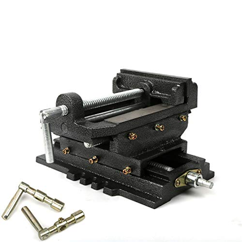 """uyoyous 2 Way 6 Inch X-Y Compound Cross Slide Vise Drill Press Heavy Duty Cast Iron Metal Milling Bench Mount Clamp Machine,6"""" Width x 1.38"""" Depth Jaw, 6"""" Jaw Opening,Base 10.6"""" x 7.1"""""""