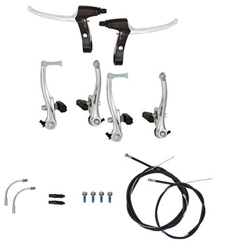 P4B | Komplettes V-Brake Bremsen Set in Silber - für vorne und hinten | Bremsarme 110 mm mit linearer Feder | Geeignet für 16-28 Zoll | Bremsanlage für MTB, Trekking, Citybike