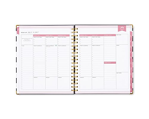 "Day Designer for Blue Sky 2017-2018 Academic Year Weekly & Monthly Planner, Wire-O Binding, 8"" x 10"", Navy Stripe Hardcover Photo #4"