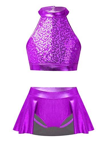 Aislor Mädchen Tanz Outfit Tanzanzug Pailletten Neckholder Crop Top mit Glänzend Tanz Rock mit Innenslip Tanzkostüm Tanzkleidung Mädchen Hip Hop Violett 158-164