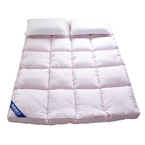 Colchón plegable de tatami futón, colchón de suelo japonés, suave, grueso, portátil, transpirable, duradero, para dormitorio, sala de estar, rosa, 180 x 200 cm