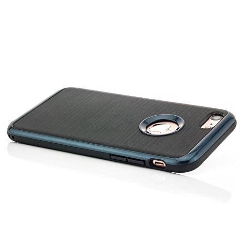 zanasta Custodia iPhone 7 / iPhone 8 Cover TPU Silicone [Hybrid Case] Shock Assorbimento, Brushed Design Nero-Blu Scuro