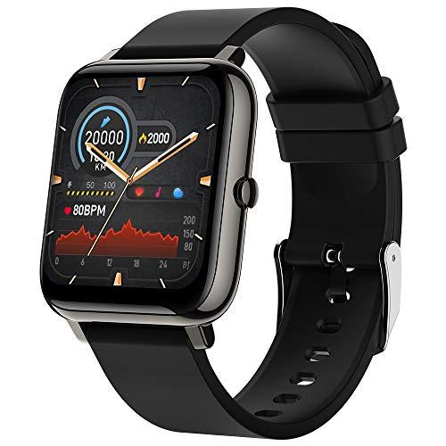 Smartwatch, Zagzog Fitness Tracker 1,4 Zoll Touchscreen Smartwatches mit Pulsmesser Schlafmonitor Schrittzähler IP68 Wasserdicht Sportuhr Android iOS Kompatibel, für Damen Herren Kinder (Schwarz)