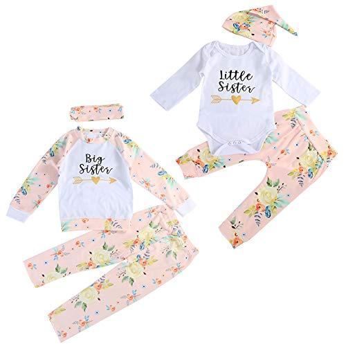 Tianhaik Bambini Neonate Vestiti Coordinati Sorelle, Sorellina Sorella Maggiore Pagliaccetto/Tee Floreale Manica Lunga+Pantaloni Set di Vestiti da Fratello