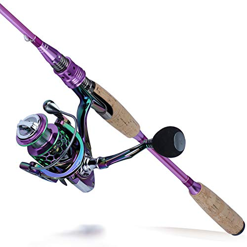 Sougayilang Fishing Rod Reel Combo,Carbon Fiber Protable Spinning Fishing Pole and Colorful Spinning Reel for Travel 4 Pieces Freshwater-6.9FT