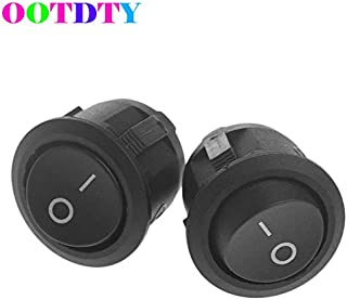 Paul My 2Pcs/Lot Mini Switches 3-Pin Round Black SPDT ON-Off Snap-in Rocker Switch 6A 250V AC New