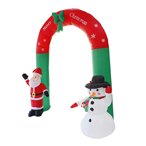 Redsa Aufblasbarer Torbogen mit Weihnachtsmann-Motiv, beleuchtet, 2,4 m, für drinnen und draußen, für den Garten, als Requisite