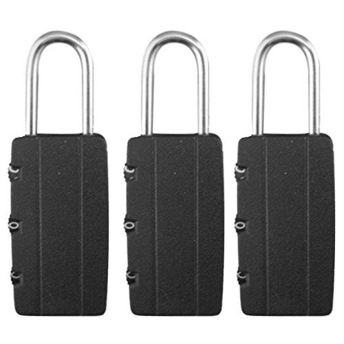 3 x 3 DIGIT hangsloten combineerbaar COMBINATIE PADLOCKS zwart voor extra veiligheid Mini wachtwoord master-code componeer het veiligheidsnummer voor de handtas en het vervoer van reizen.